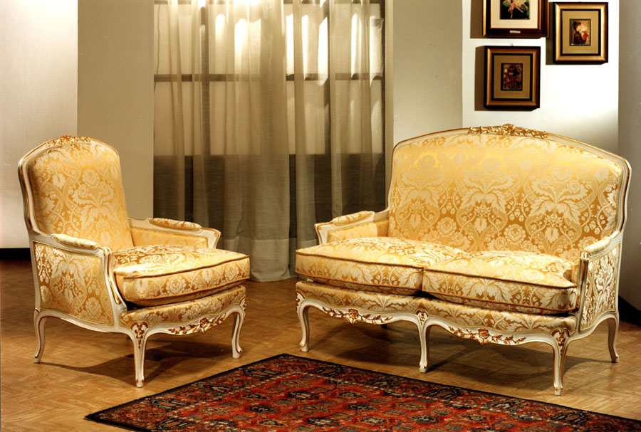 Sofa and armchair Louis XV style
