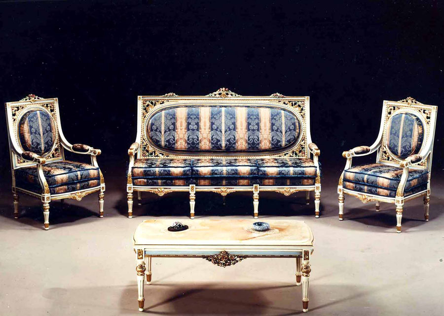 Armchairs and sofa lacquered and gilded wood, Louis XVI